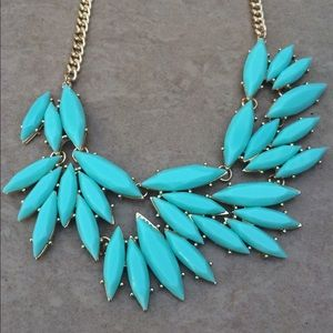 Gold Tone Statement Turquoise Mint Green Necklace